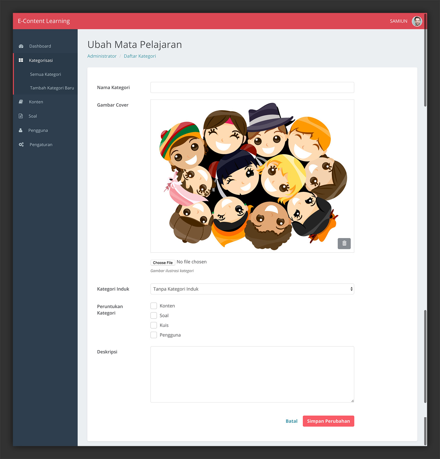 E-Learning Content Management Administration Dashboard
