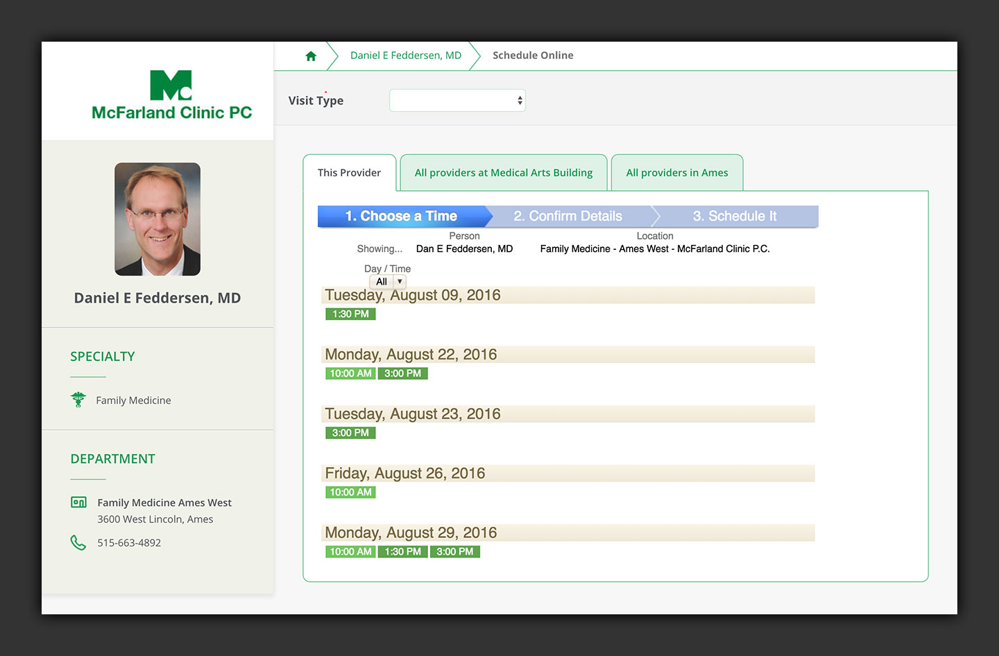 Mcfarland Clinic Shedulling Application User Interface
