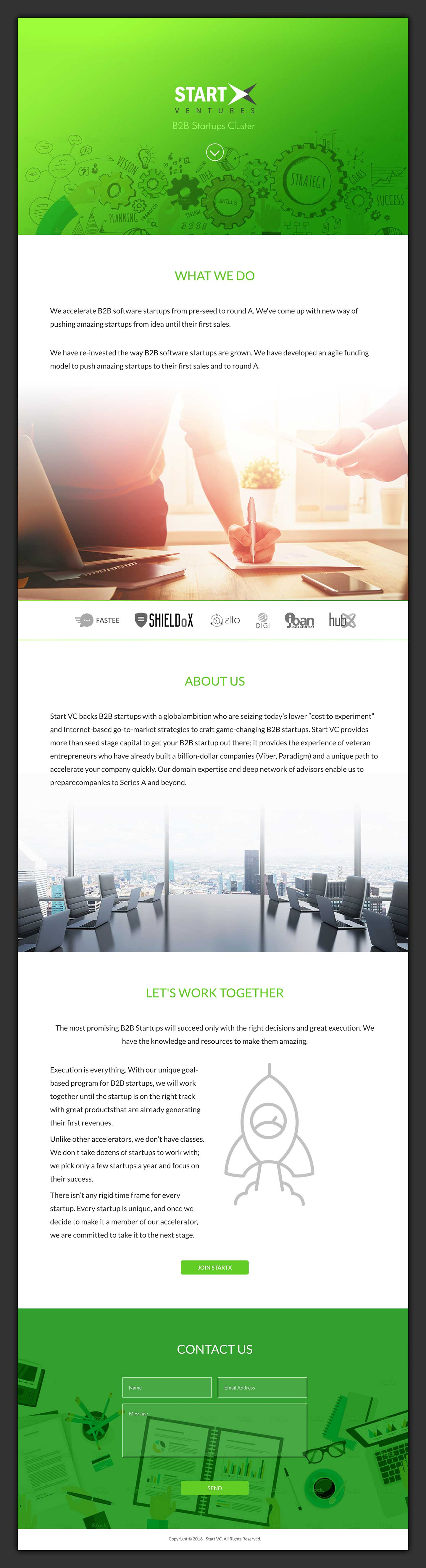 StartX Ventures Landing Page